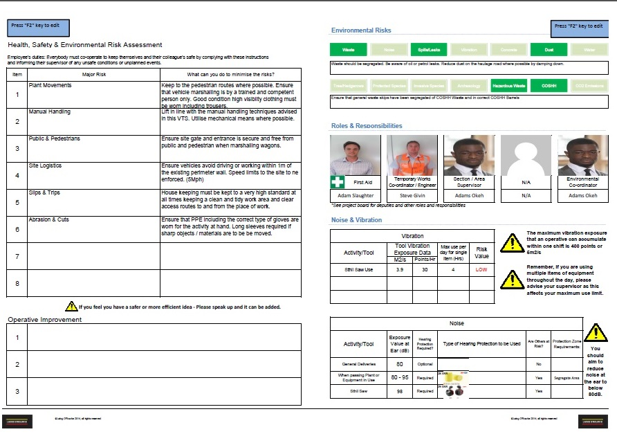 Exhibition Stand Risk Assessment Form : Risk assessment for manual handling template image